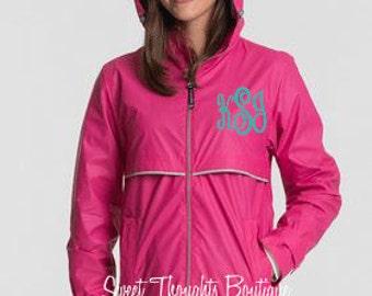 Monogrammed Charles River Rain Jacket, Monogrammed Rain Coat, Monogrammed Jacket, Womens Rain Jacket, Ladies Rain Coat, Waterproof Jacket