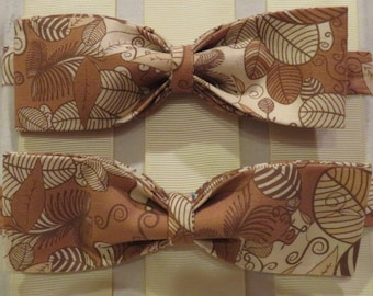 Brown and Beiges Leaves Bow Tie