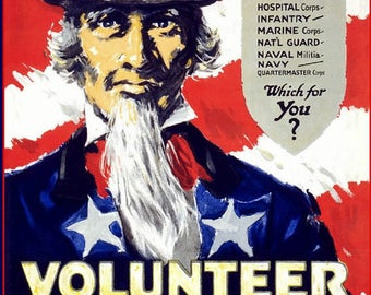 Uncle Sam Wants You to Volunteer.  WWII enlistment poster, recruitment ad,  vintage war posters. Join armed services,  8x10 premium poster