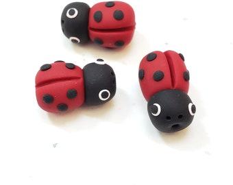 Polymer Clay Ladybug Beads/ Set Of Three 18mm Ladybugs/ Handmade/ Jewelry Supplies/ Beads/ Red And Black/ Ladybirds/ Beading