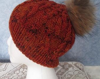 Autumn Bonfire Cabled Cap with Fur Pom-Pom