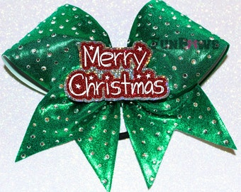 Merry Christmas Rhinestone Cheer bow 3-D cutout by FunBows !