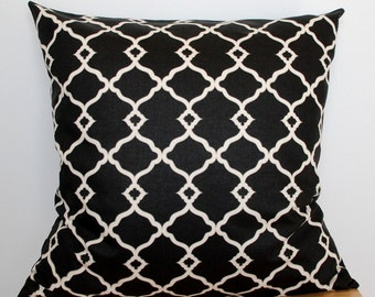 Black Geometric Pillow Cover, Black and White Throw Pillow Cover, 18x18 Inch Throw Pillow, Black Geometric Cushion Cover