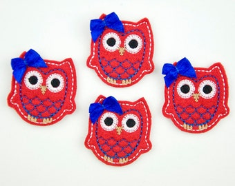 OWL - Embroidered Felt Embellishments / Appliques - Red, Blue & White  (Qnty of 4) SCF6610