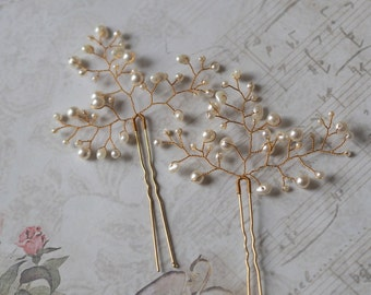 Bridal Hair Pin, Pearl Headpiece, Pearl Wedding Hair Pin, Pearl Hair Pin, Gold Hair Pins, Gold Bridal Pins, White Pearl Hair Pin