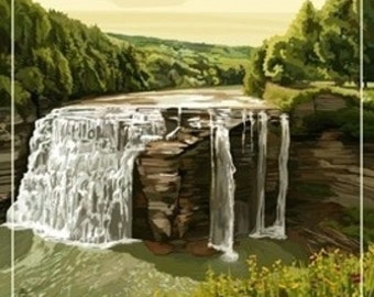 Letchworth State Park, New York - Middle Falls - Grand Canyon of the East (Art Prints available in multiple sizes)