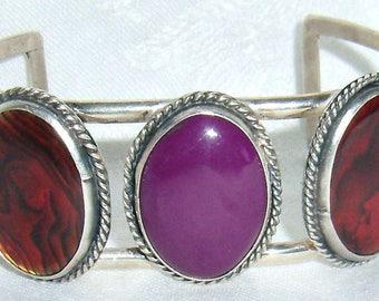 Free Shipping VTG Modernist Retro Sterling Silver Red Purple Stone Cuff Bangle Bracelet B13