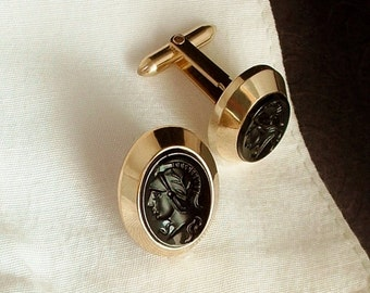 Sale VINTAGE 12K Gold Filled Mens CUFFLINKS Intaglio Black Glass Signed KREMENTZ Hallmarked, Boyfriend Husband Jewelry Gift for Him