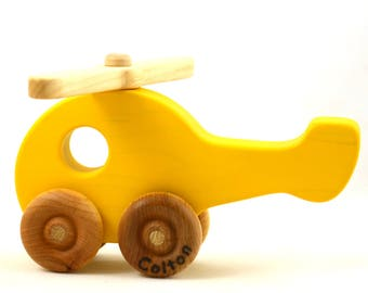 Personalized Wooden Toy Helicopter - Choose Any Color - Etsy Kids