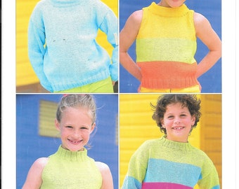 UK original Sirdar knitting pattern for four styles of jumper.  To fit sizes 22-32 ins / 56-81 cms.  double knit