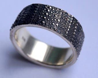 Blackened Silver sea urchin ring