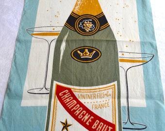 Vintage Linen Kitchen Towel - Champagne Bottle and Glasses - Martex