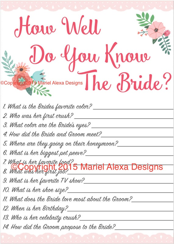 Bridal Shower Game How well do you know the bride Fun