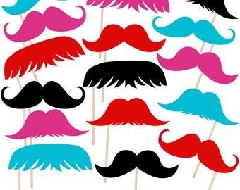 Printable Mustache Photo Booth Props, Moustache Photobooth Props, Little Man Props, Instant Download - DP403