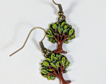 Tree of Life Earrings, Green Tree Dangles, Painted Trees, Metal Charms, Nature Earrings, Woods, Green Earrings
