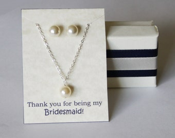 Bridesmaid gift SET- Pearl necklace and earrings SET- Pearl necklace studs SET- Wedding gift set -Bridal jewelry set- Bridesmaid jewelry set