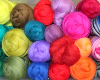 Merino wool top or roving Mixed colours for selection