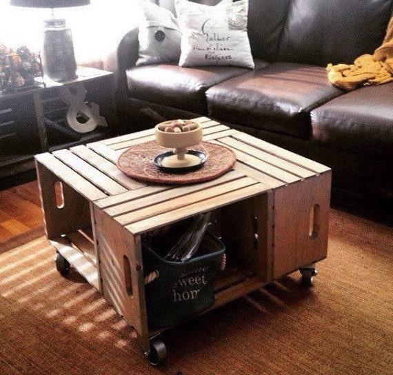 Wood Crate Coffee Table With Industrial Caster Wheels