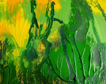 Abstract art giclee print original painting green yellow canvas living room wall art canvas modern art acrylic original wall art painting