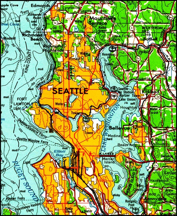 Seattle Map Map of Seattle Topo Map Pacific North West Map