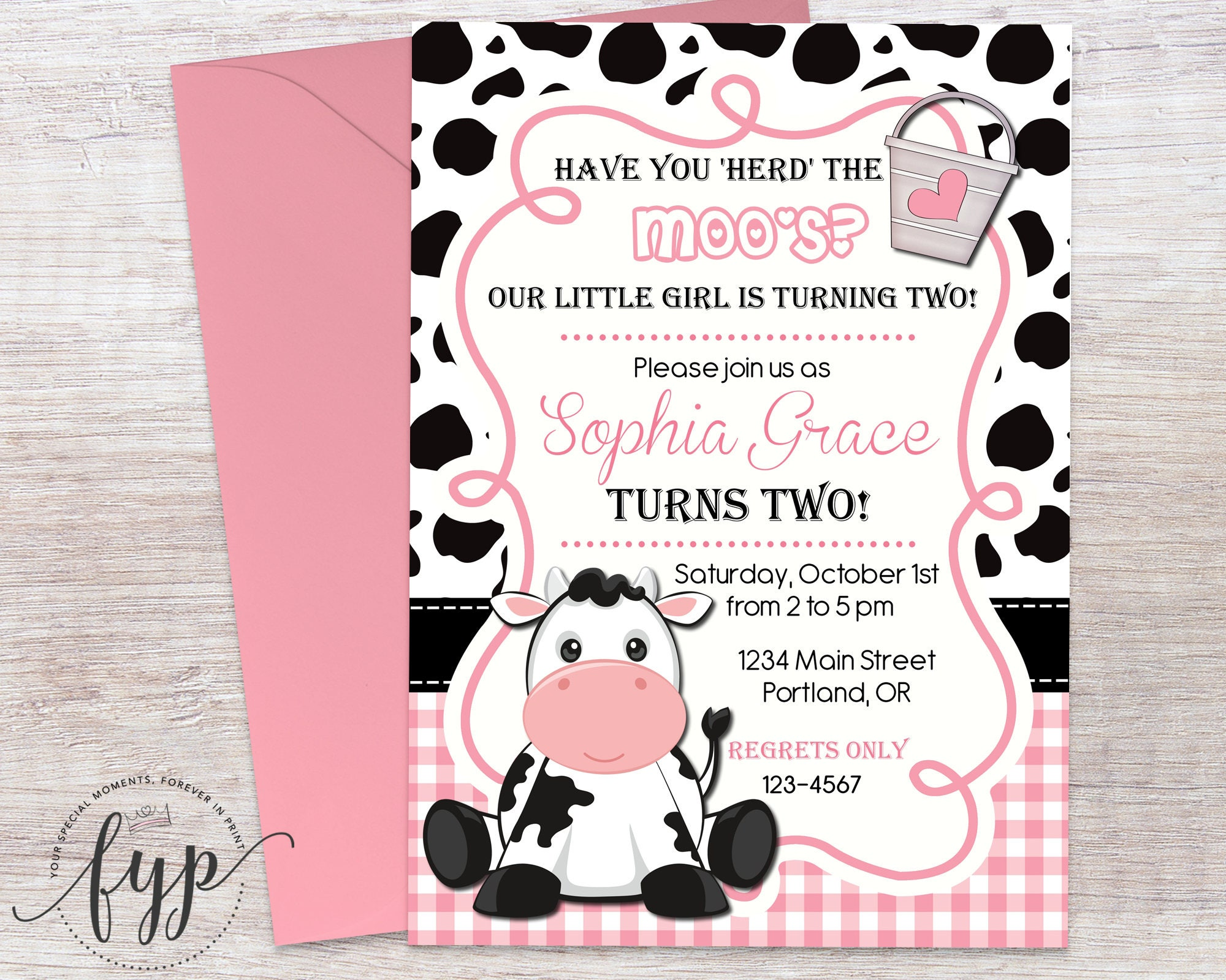 Girls cow birthday invitation cow party invitation cow party zoom monicamarmolfo Choice Image