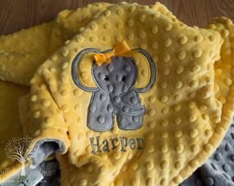 Elephant Personalized Minky Baby Blanket, Personalized Minky Baby Blanket, Personalized Baby Gifts, Elephant Appliqued Minky Baby Blanket