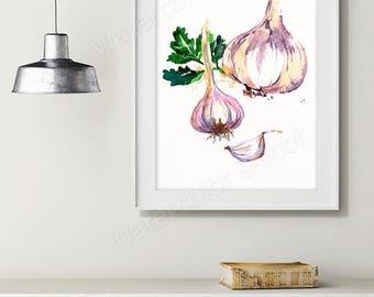 Garlic Watercolor Art Print - Vegetable Watercolor - Kitchen Wall Decor - Kitchen Art Print Housewarming Gift