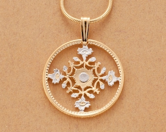Japanese pendant etsy japanese pendant and necklace japanese 50 yen flower coin hand cut 14 karat gold mozeypictures Images