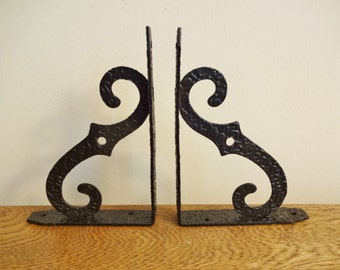 "Mid Century Cast Metal Shelf Brackets - Set of Two - Black - ""S"" Shaped Shelf Brackets"