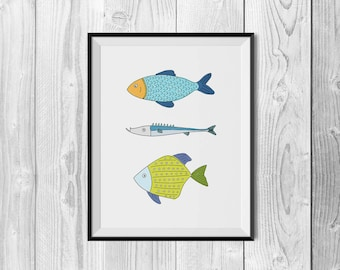 Fish Illustration Print, Fish Wall Art, Fish Drawing, Sea Illustration, Beach Wall Art, Nautical Art, Ocean Art