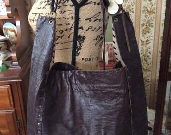 Vintage 1990s Handbag Purse Shoulder Bag Dark Brown Leather Liliane Lang Collection Handmade In The USA Limited Edition Flower Adornment