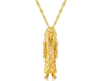 """14k solid gold Male Pharoah pendant on 18"""" solid gold chain."""
