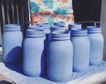 Light Blue Mason Jar Vases/ Baby Shower Centerpieces/ Wedding/ Party and Home Decor/ Shabby Chic/ Rustic Baby Blue
