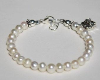 Baby Girl Charm Bracelet Fresh Water Pearl Charm Flower Girl Gift, Baptism, Christening, Every Day