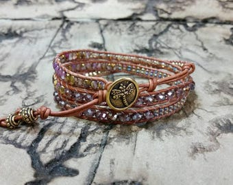 Beautiful Purple and Brown 3x leather wrap