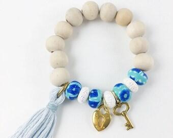 Heart Lock and Key Charm Bracelet, Tassel, Blue, Gold Charms, Wood Beads, Girl, Girl Gift
