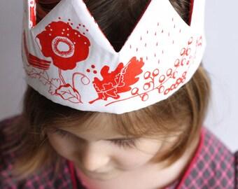 Couronne à coudre ~ couronne de tissu rose fluo, fleurs et oiseau ~ diy