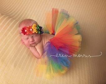 Rainbow tutu set, rainbow baby photo prop, newborn photo prop, rainbow tutu, newborn tutu set, rainbow baby, baby,  rainbow baby tutu set,