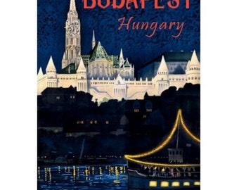 BUDAPEST 1-Handmade Leather Postcard / Note Card / Fridge Magnet - Travel Art