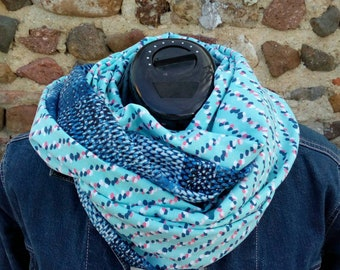Woman Snood, scarf, viscose, shades of blue, turquoise, abstract pattern scarf