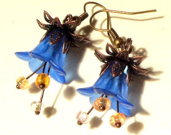 Blue Resin Flower Earrings, Czech Glass Beads, Antiqued Copper and Brass Findings