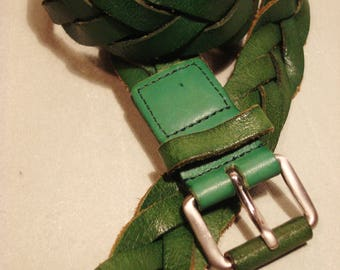 Vintage 1970s Emerald Green Leather Braided Belt