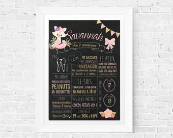 First birthday chalkboard sign, 1 year old baby memories, 1st Birthday Sign Blackboard one year old, '' girl flowers gold fox girly roses ''