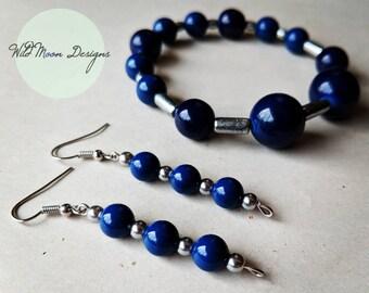 Dark Blue Graduated Hombre Bracelet and Earring Set, Classic Jewelry, Midnight Blue Jewelry Set, Night Sky Jewelry, Retro Jewelry, Pinup