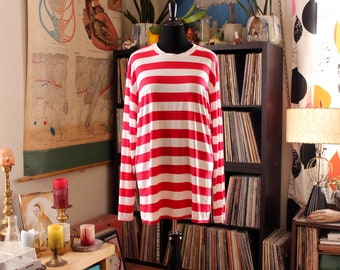 oversized vintage Where's Waldo red and white striped t-shirt, long sleeve pullover by Bonnie & Clyde, thin and stretchy