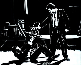 8.5x11 Reservoir Dogs  (Mr. White & Mr. Pink) Stencil Art Print