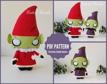 PDF PATTERN. Christmas Zombie Gnomes Gothic PDF Felt Sewing Pattern