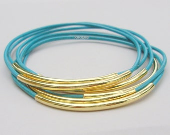 Custom USA - 6 Leather BANGLES - GOLD Tube -   Pick Color Leather / Size - Lead Free Leather Tube Bangle Bracelet - Choice of 44 Colors 001