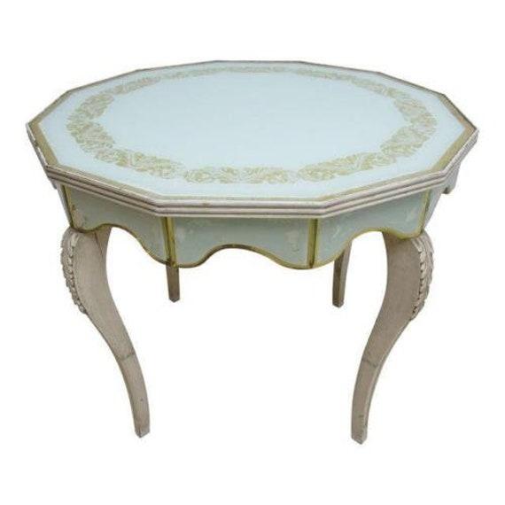 Vintage Custom French Regency Venetian Glass Dinette Dining Game Table