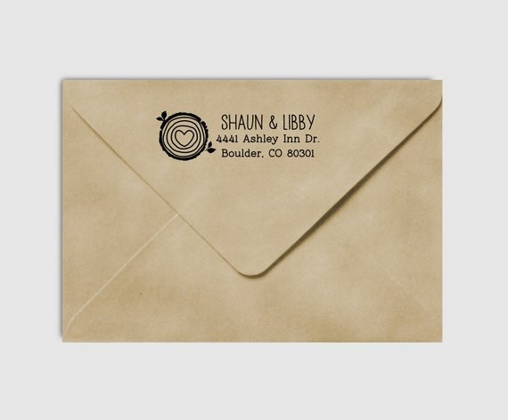 Return Address Stamp Tree Rings , Round Wood Slice Woodgrain Rustic